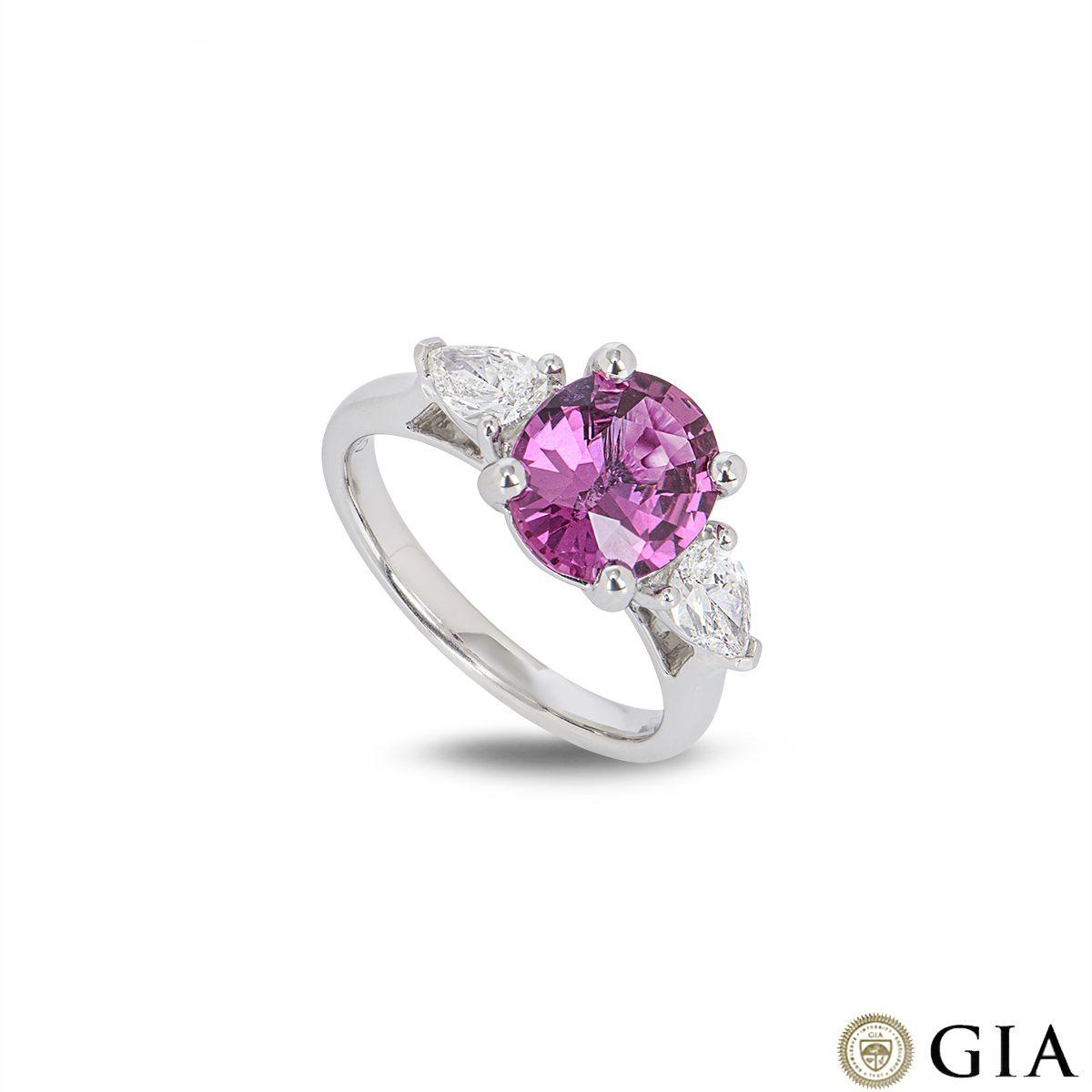 White Gold Pink Sapphire & Diamond Ring 2.44ct